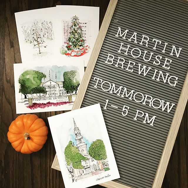 **CORRECTION:  1pm-6pm** Don't forget tomorrow from 1pm-5pm you should really be @martinhousebrewing for the @fortworthmarkettrail fall shin dig.  I have a few new prints and cards to debut including the ever requested TCU Carr Chapel!