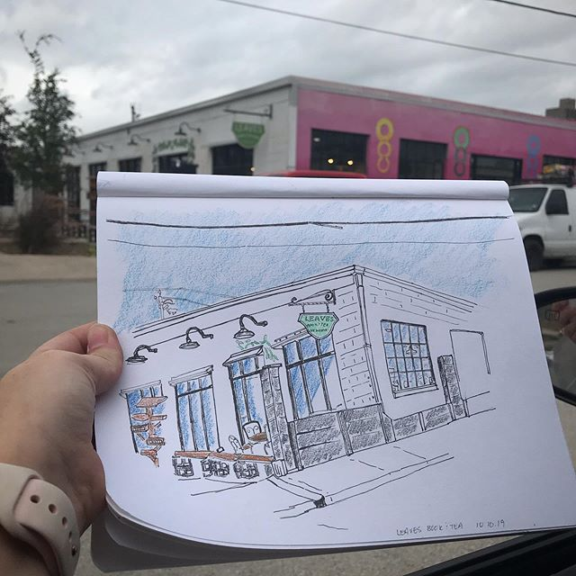 "It's been a minute since I was able to sit outside and sketch without feeling like I was going to die in the heat.  So, after dropping one very anxious pup off at the vet for a dental cleaning today this anxious pet mother decided to sketch @leavesbooktea to calm my nerves.  I have wanted to sketch the exterior for a while now and am feeling grateful for the ""cooler"" temps.  Sketching live feels foreign to me right now.  It's so different than working from a photo.  My fall/winter goal is to fill a sketchbook with on site sketches.  #fortworth #fortworthlocals #fortworthartist"