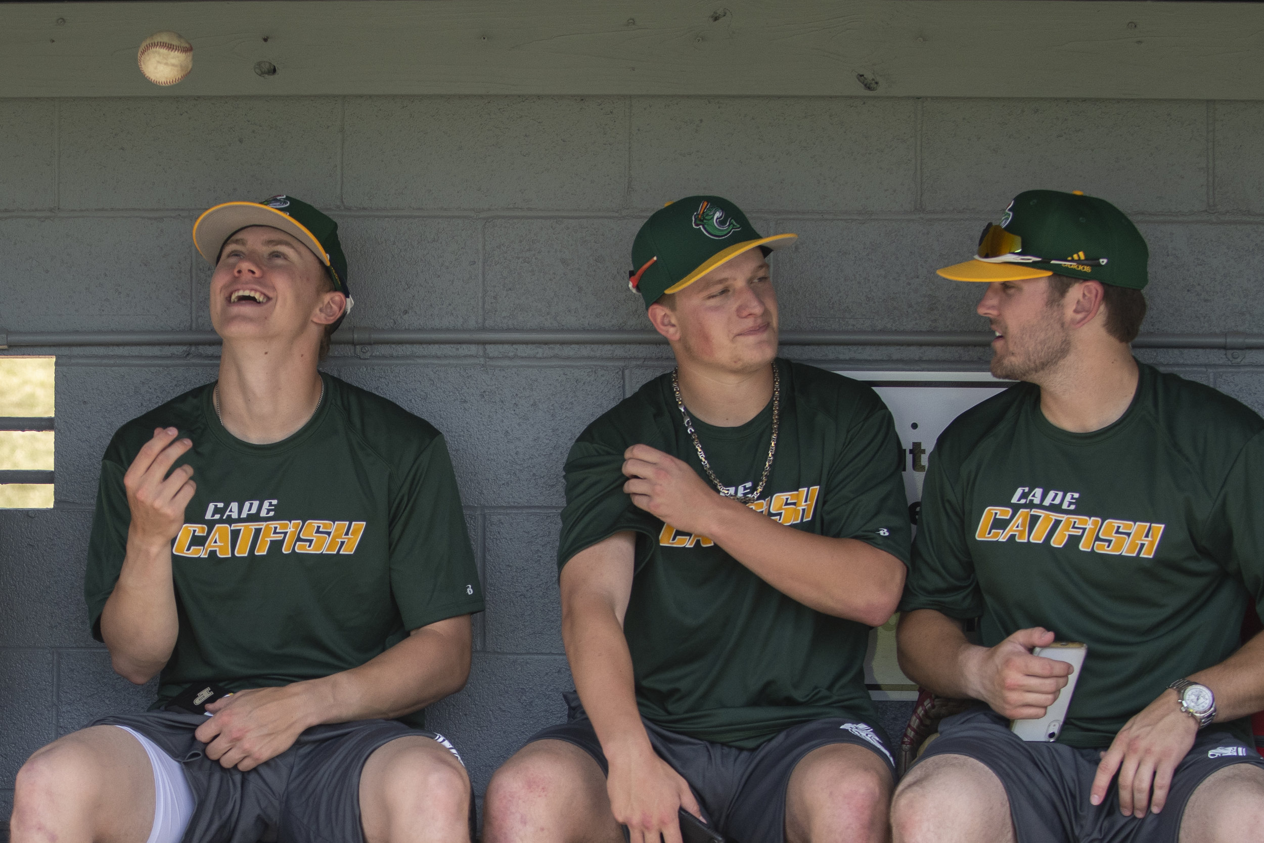 Cape Catfish, from left, infielder Ryan Howe, infielder Zane Wallace and outfielder Peyton Faulkner have a seat in the dugout during the first practice of the Cape Catfish on Tuesday, May 28, 2019, at Capaha Field in Cape Girardeau. Jacob Wiegand | Southeast Missourian