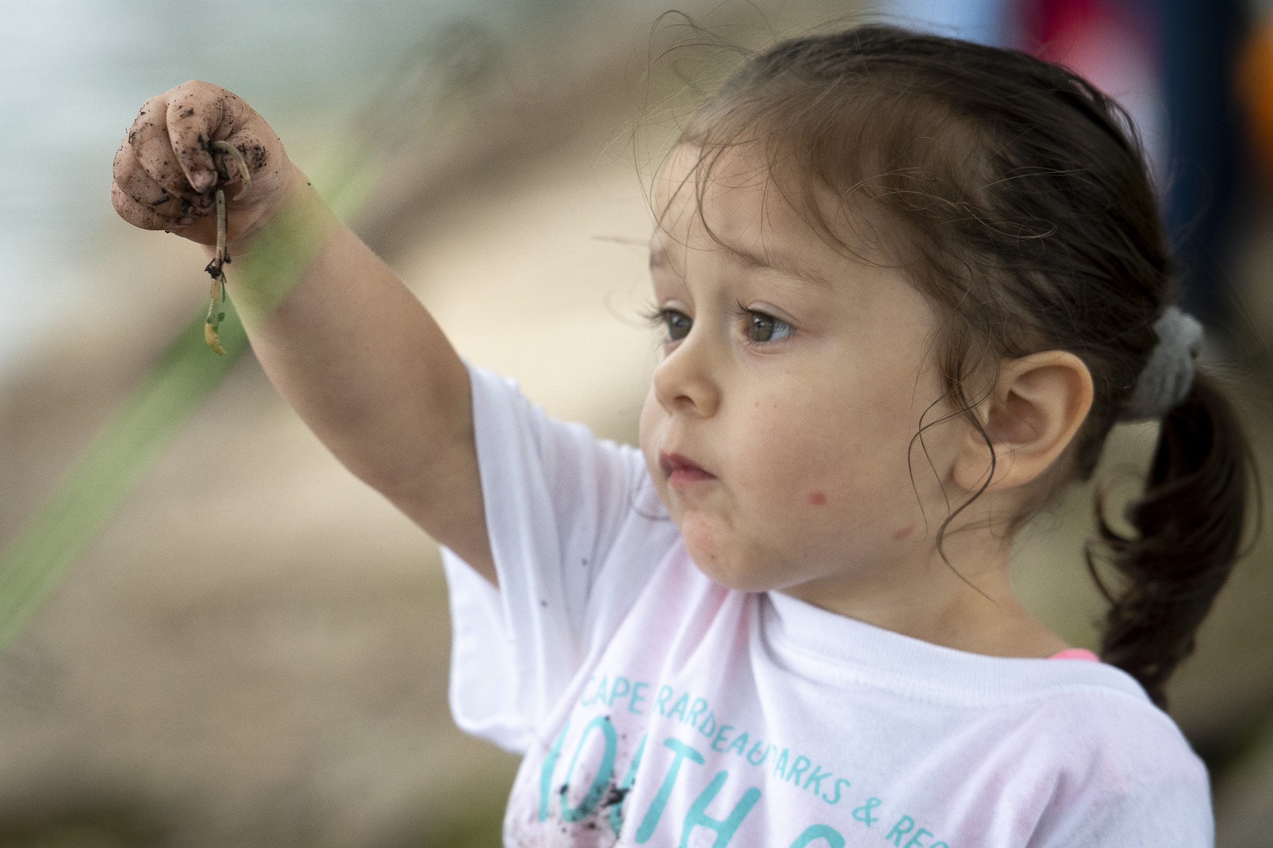"Gracie Salazar, 2, of Cape Girardeau, holds a worm during a Youth Catch & Release fishing event Saturday, June 8, 2019, at Capaha Park in Cape Girardeau. ""This is the first time my two's been fishing,"" Gracie's mother Lacy Salazar said. ""First time they caught a fish."" The event was hosted by Cape Girardeau Parks & Recreation and the Cape Girardeau Jaycees. Jacob Wiegand 