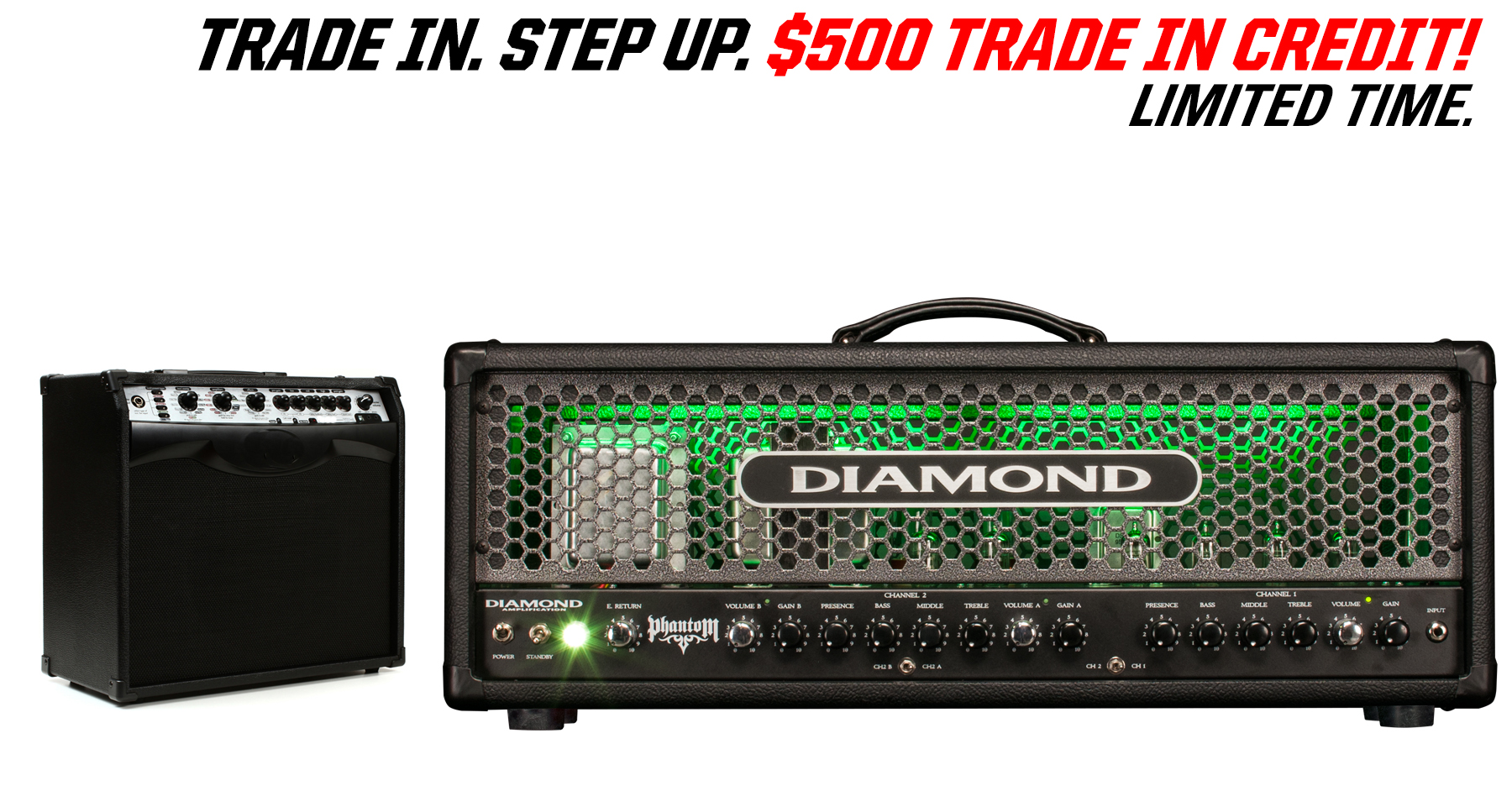 Trade in any amp and get $500 credit on a new USA Custom Diamond Amp!