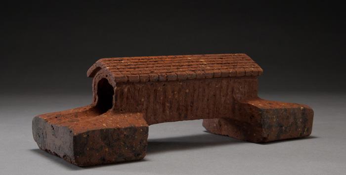 "COVERED BRIDGE, Carved Vintage Facing Brick, 3 x 9 x 3 1/4"""