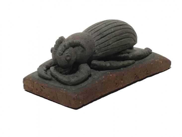 "PIN-STRIPE BEETLE, Carved Antique Brick, 3 1/2 x 8 x 3 1/2"""