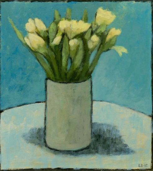 DAFFODILS IN A VASE I, Acrylic on Paper, 10 x 9""