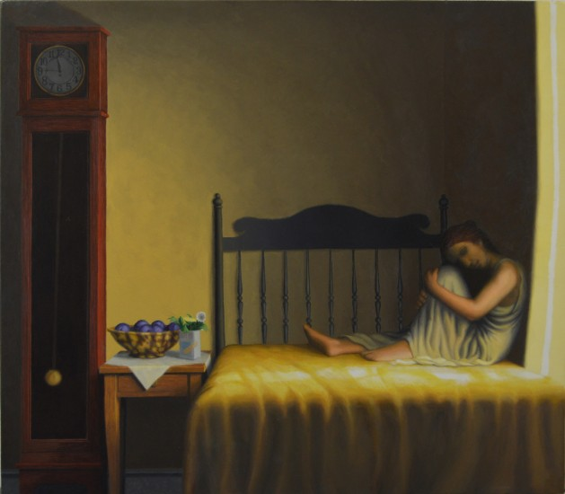 """SOMEWHERE BETWEEN THE CLOCK AND THE BED II, Oil on Canvas over Panel, image 22 1/2 x 25"""" framed 28 x 31"""""""