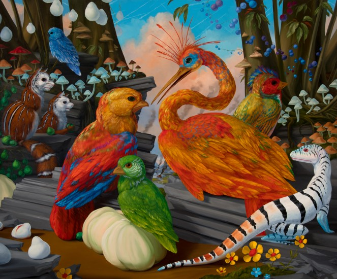 """HABITAT DIORAMA WITH A THOUSAND SHIMMERING DREAMS (TAGLINES FOR REMAINING SAFE PLACES ON EARTH), Oil on Linen, 30 x 36"""""""