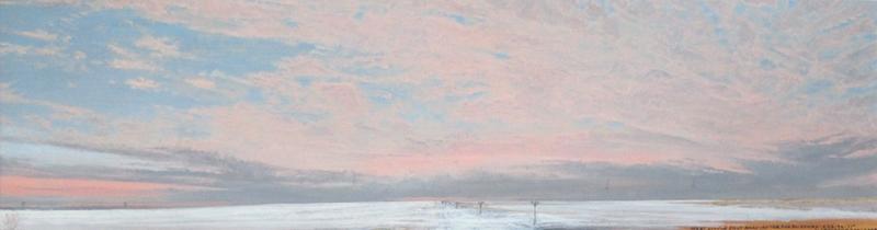 "WEST LITTLE SALT ROAD AFTER THE BLIZZARD, Oil on Paper, 8 x 28"" , framed: 15 1/2 x 35"""