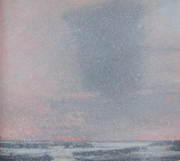 "SNOW VEIL, Oil on Birch Panel, 8 x 9"" , framed: 16 x 17"""