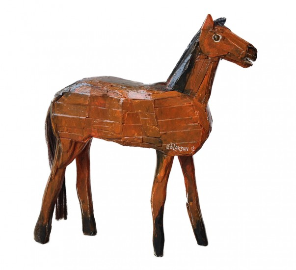 """BROWN HORSE, Painted Wood, 27 1/2 x 27 x 6 1/4"""""""
