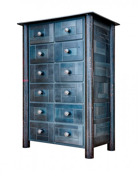 "CHEST OF 12 DRAWERS, Hot Rolled and Found Painted Steed, 43 x 29 x 17"" -  SOLD"