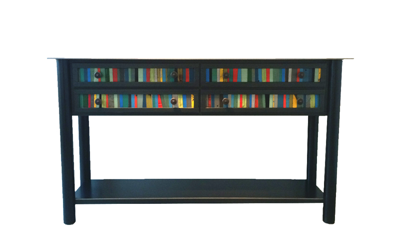"FOUR DRAWER STRIP QUILT TABLE, Hot Rolled and Found Painted Steel, 34 1/2h x 60w x 16d"" -  SOLD"