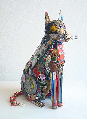 """CAT, Found Object Assemblage, 15 x 5 x 10"""""""
