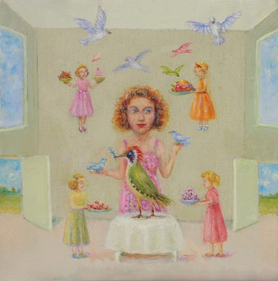 THE SECRET OF FLIGHT IS REVEALED BY THE BIRDS, Oil on Linen, 14 x 14""