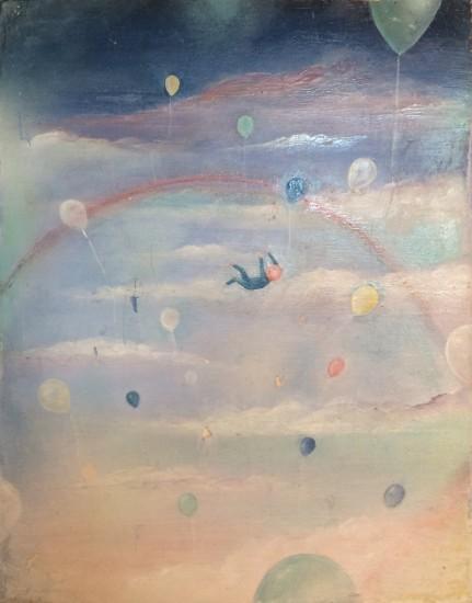 """FALLEN, Watercolor on Found Board, 8 x 10"""""""