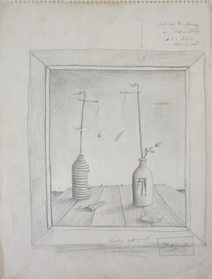 "NEWTON'S WORLD OF VACUUM, Graphite on Paper, 13 3/4 x 10"""