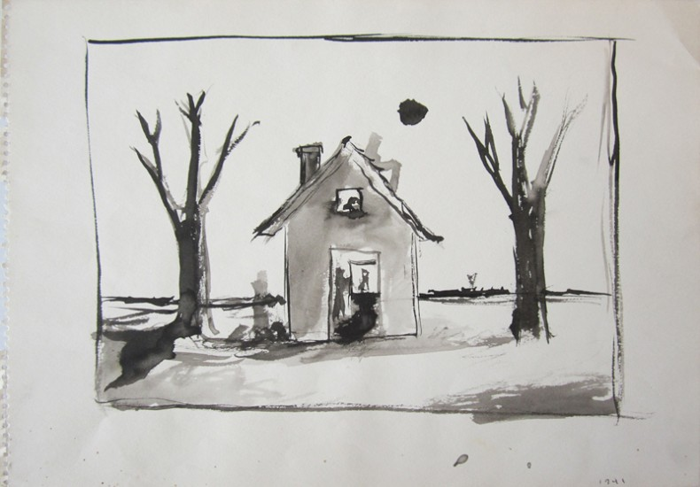 UNTITLED (DWELLING AND TWO TREES), 1941, Ink on Paper, 10 x 14""