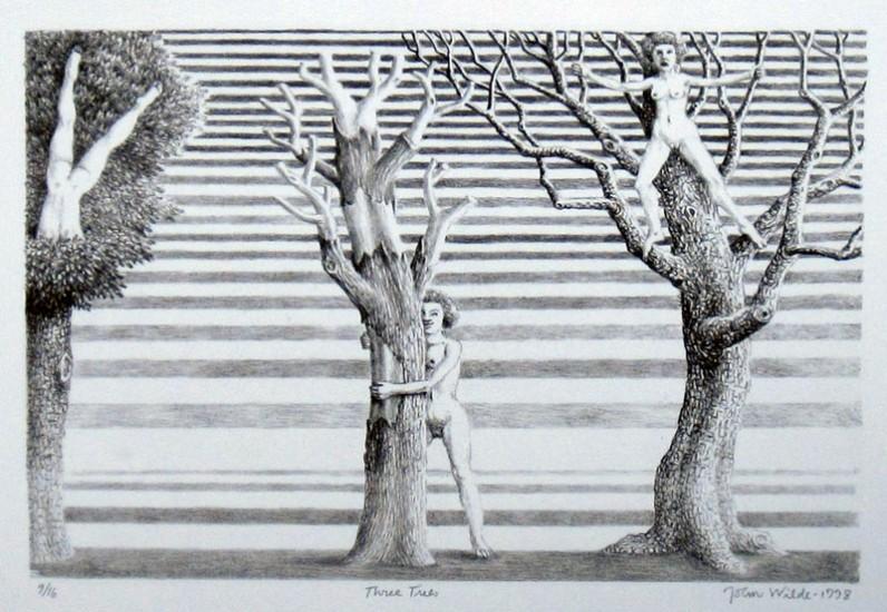 """THREE TREES, Etching, 14 x 18"""", Ed. 9/16"""