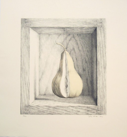 "A BOXED PEAR, Chine Colle Lithograph, image 14 x 12"" paper 20 x 18"", Ed. of 55"