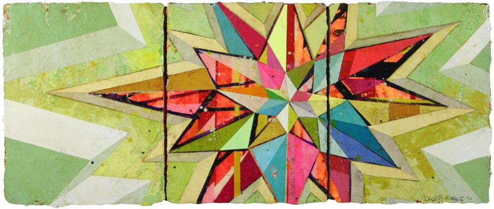 "Jason Rohlf, ""Beacon"", Acrylic and Collage on Panel,14 x 34"""