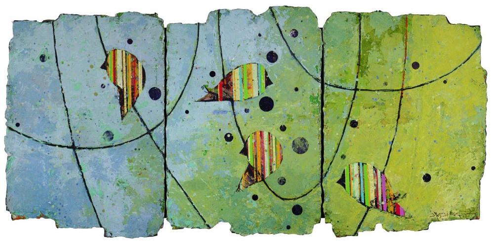 "Jason Rohlf, ""Conveyed"", Acrylic and Collage on Panel,14×34"""