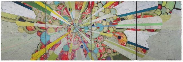 """Jason Rohlf, """"Convey"""", Acrylic and Collage on Four Linen Panels,24 x 72"""""""