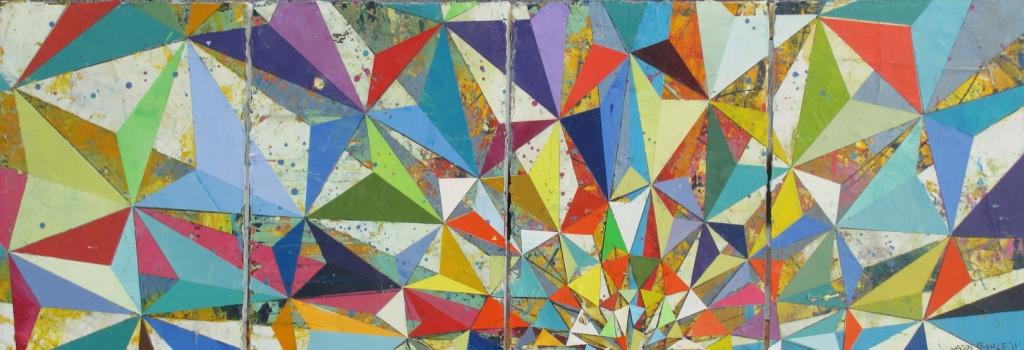 "Jason Rohlf, ""Persist"", Acrylic on Four Linen Panels,16 x 50"""