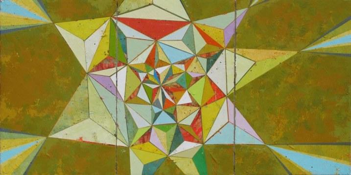 "Jason Rohlf, ""Positioned"", Acrylic on Three Canvas Panels,36 x 72"""