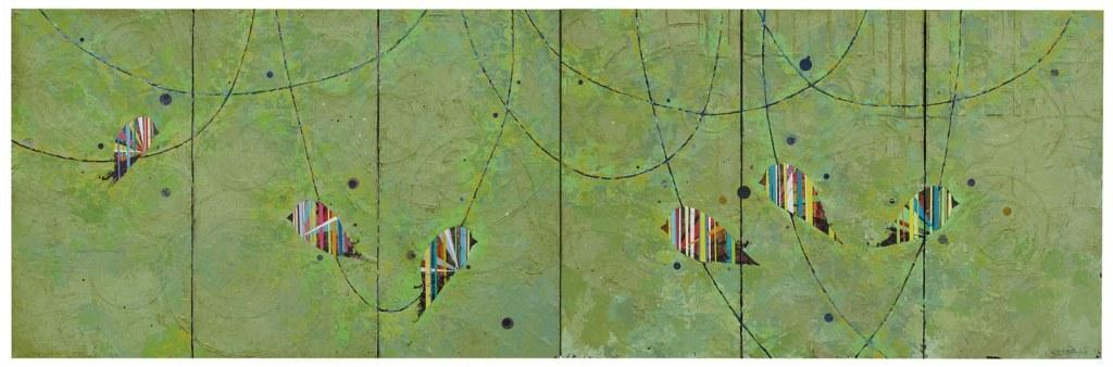 """Jason Rohlf, """"Shared"""", Acrylic and Collage on Six Linen Panels,36 x 110"""""""