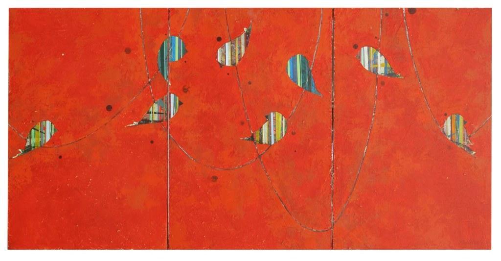 "Jason Rohlf, ""Spectators"", Acrylic Tn three Canvas Panels,36 x 72"""