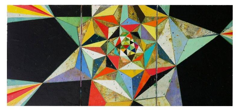 "Jason Rohlf, ""Best Guesses"", Acrylic on Three Canvas Panels,24 x 55"