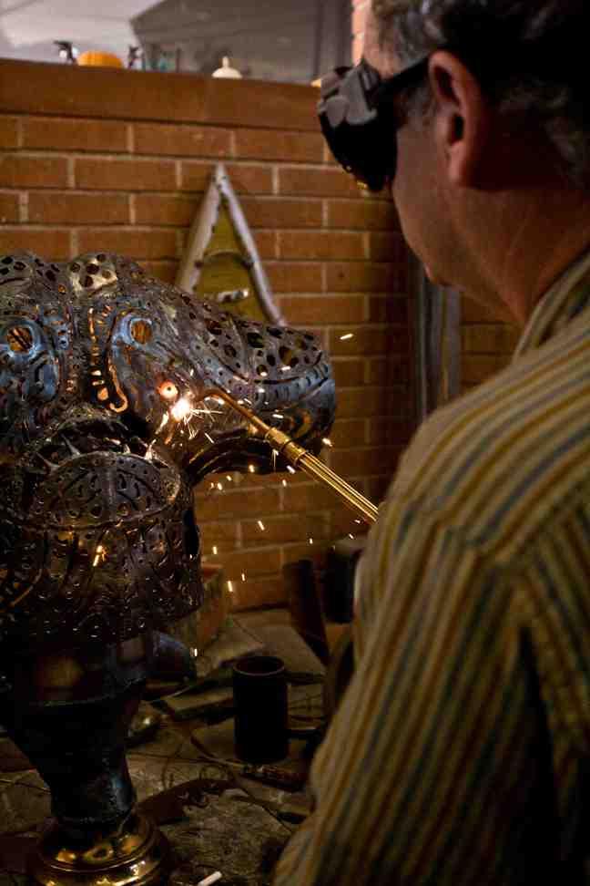 A lamp in progress.