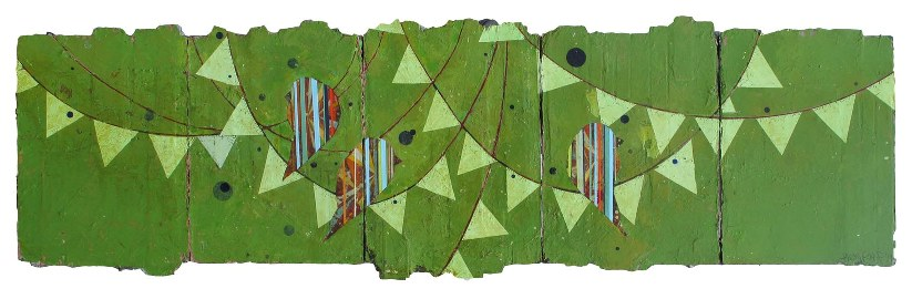 """""""All Clear"""" 16×60 inches on five linen panels"""
