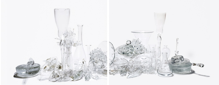 "STILL LIFE WITH LARGE GOBLET, FLOWERS, BIRDS, FRUIT AND CHEESE  (diptych), Photograph C-print Mounted to Plexiglass, 28 x 68"", Edition 1/3"