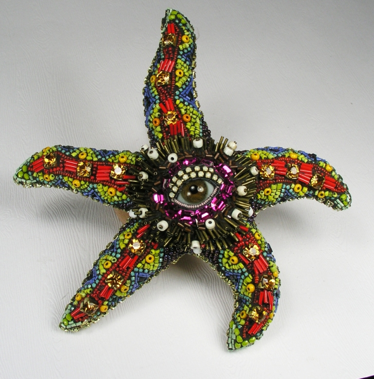 STARFISH, vintage glass  , African seed beads, brass tube bead, 6 3/4 x 7 x 1 1/4 inches