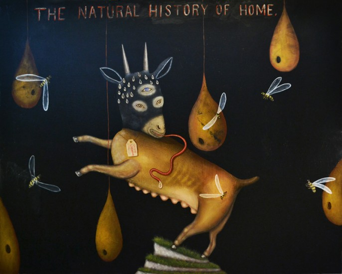 Fred Stonehouse, THE NATURAL HISTORY OF HOME, Acrylic on Canvas, 48 x 60""