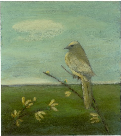 """BIRD IN A LANDSCAPE WITH HONEYSUCKLE, Acrylic on Paper mounted on Panel, image 9 x 8"""", framed 11 1/4 x 10 1/4"""""""