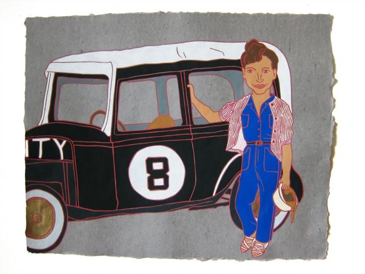 "Nancy Mladenoff,THE LADIES: LEE CORNISH, STOCK CAR RACER, Flashe on Paper, 16 x20"""