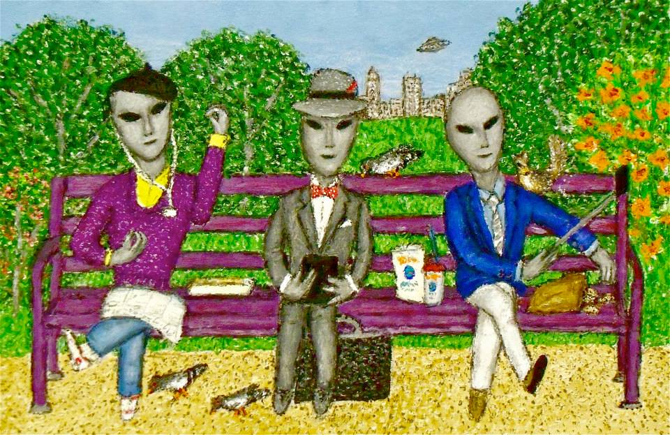 Stephen Warde Anderson, Clueless Gray Aliens on a Park Bench, 2015, acrylic on illustration board, 8 x 12 inches.