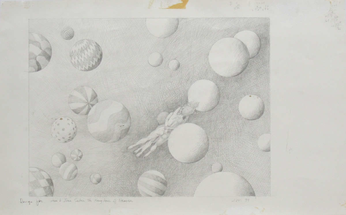 DESIGN FOR JANE AND JOAN ENTER THE KINGDOM OF HEAVEN, 1994, Pencil on Paper, 14 x 23""