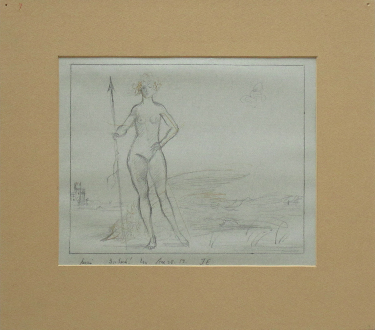 DESIGN FOR POOR LARK!, 1953, Pencil and Ink on Blue Paper, 9 1/2 x 11 1/4""