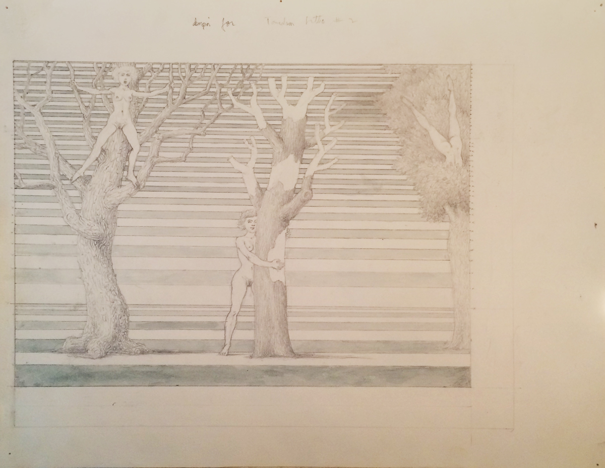 DESIGN FOR THREE TREES, TANDEM LITHO #2, Graphite and Wash on Paper, 11 3/4 x 14 1/2""