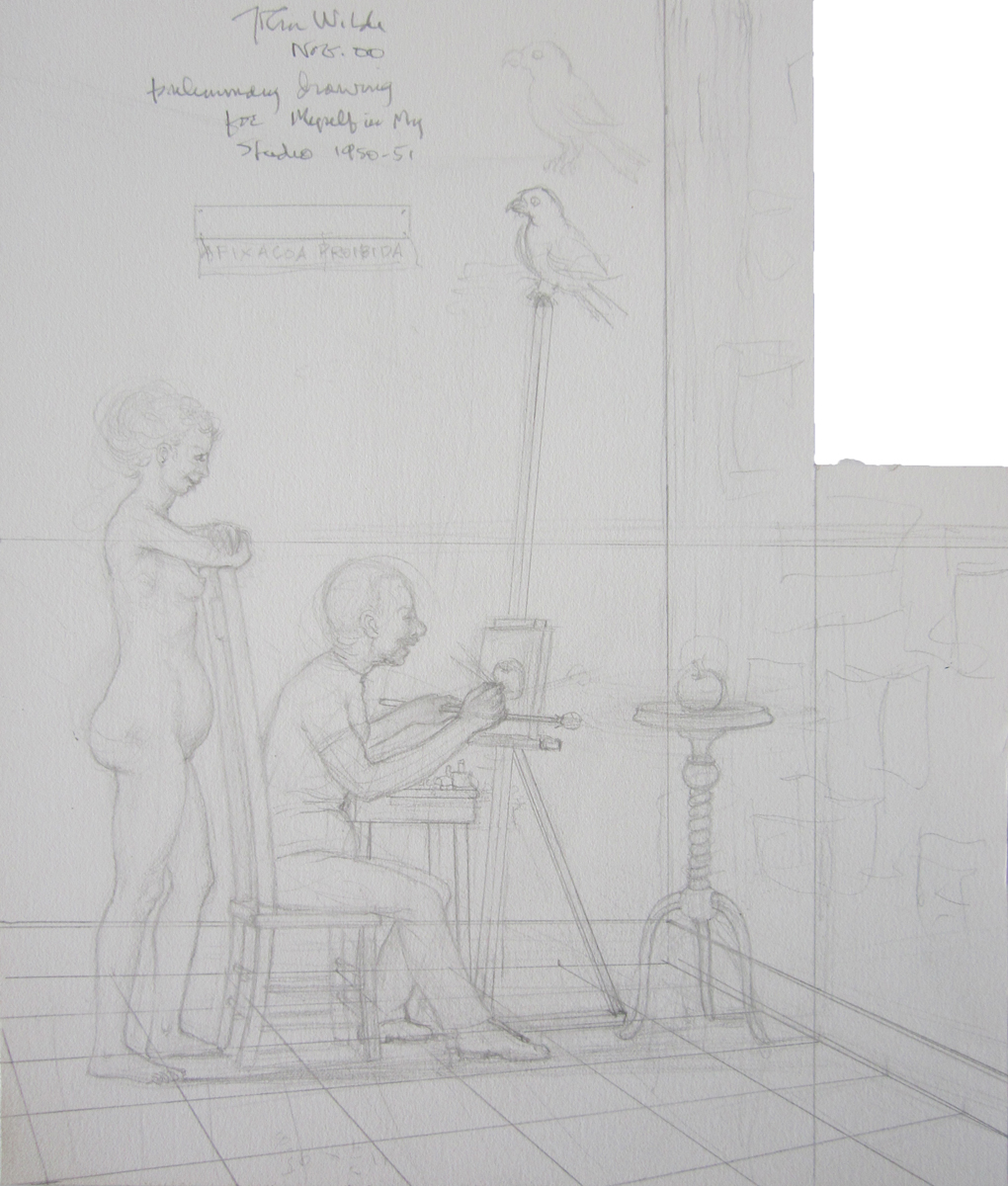 DRAWING FOR MYSELF IN MY STUDIO 1950-1951, 2000, Pencil on Illustration Board, 11 3/4 x 7 3/4""