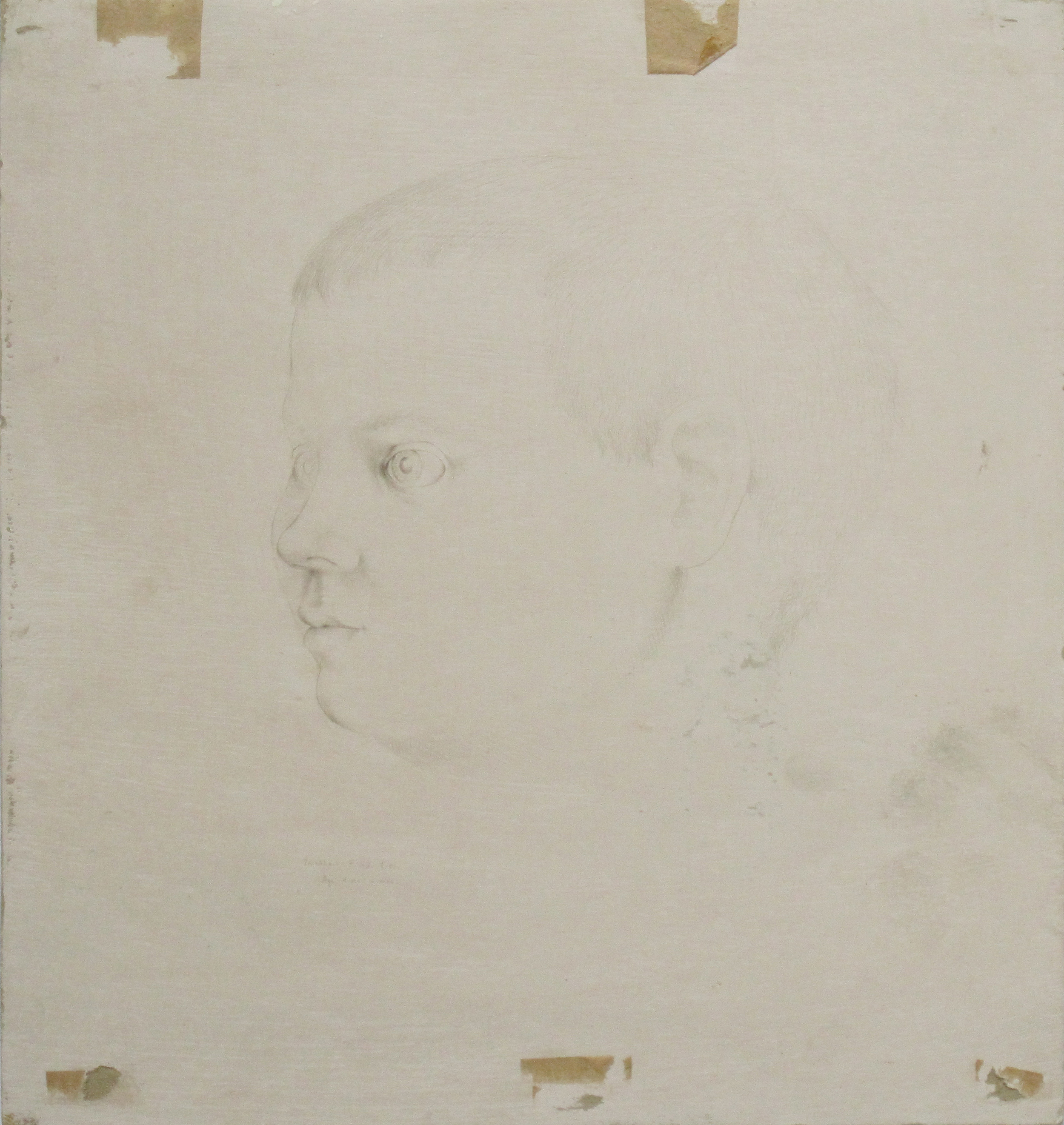 JONATHAN F. 53 E.W 4 YRS. 4 MONTHS, Nov. 15, 1942, Pencil on Gessoed Chipboard, 14 x 13""