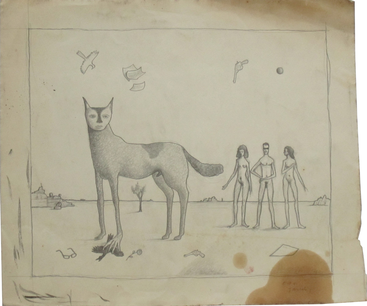 UNTITLED - BEAST WITH THREE NUDES, Oct. 1941, Pencil on Paper, 12 x 14""