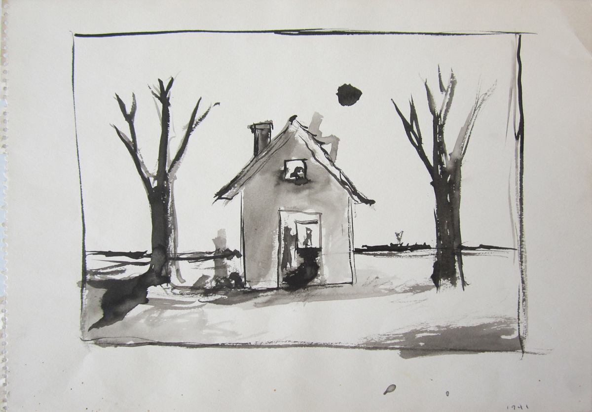UNTITLED - DWELLING AND TWO TREES, 1941, Ink on Paper, 10 x 14""