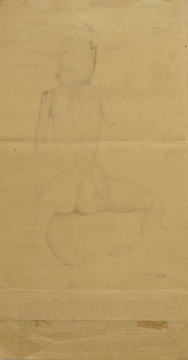 UNTITLED - NUDE FEMALE ON BALL WITH SEVERED ARM AND DAGGER THROUGH HER HEAD, 1943, Pencil on Paper, 22 x 11 1/4""
