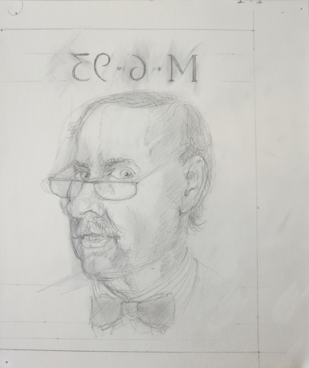 UNTITLED - MIRRORED PORTRAIT (M-6-93), Pencil on Paper, 11 1/2 x 9 3/4""