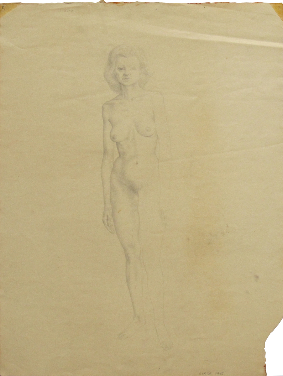 UNTITLED - NUDE FEMALE STANDING, 1945, Pencil on Paper, 17 1/2 x 13""