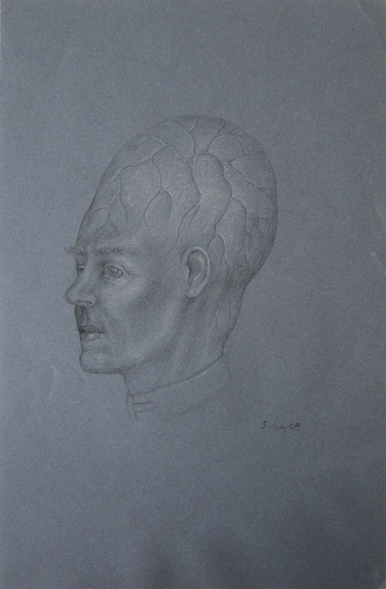 UNTITLED - PORTRAIT OF MAN WITH BIG BRAIN, 5 July 2004, Charcoal on Blue Paper Heightened with White Chalk, 19 x 12""
