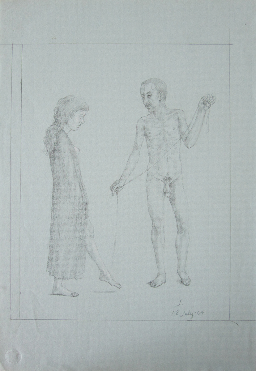 UNTITLED - ROBED WOMAN AND NUDE MAN HOLDING THREAD, Charcoal on Blue Strathmore Paper, 19 x 12 1/2""